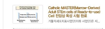 [가톨릭세포치료사업단 소식] 5.Catholic MASTER(Marrow-Derived Adult STEm cells of Ready-to-use) Cell 전임상 독성 시험 완료 / 자세히보기